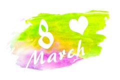 Watercolor brushwork green and pink - purplish - purple. Opposite colors. Isolated. The inscription `March 8 Stock Photography