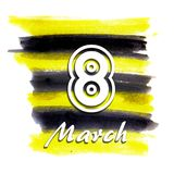 Watercolor brushwork is yellow and black. Isolated. The inscription `March 8`. Watercolor brushwork is yellow and black. Contrasting colors, like an insect bee royalty free illustration