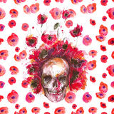 Watercolor buffalo skull and poppies Royalty Free Stock Images