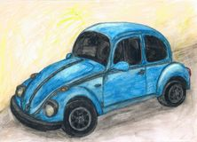 Watercolor Bug Car Painting, Drawing, Blue. Blue Bug car, painted in watercolor pencils, retro, painted and artistic-romantic look royalty free stock images