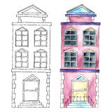 Watercolor buildings. Royalty Free Stock Image