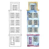 Watercolor buildings. Stock Photos