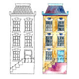 Watercolor buildings. Royalty Free Stock Photo
