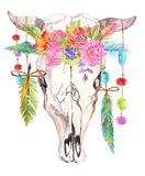 Watercolor bull skull with flowers, beads and feathers Royalty Free Stock Images