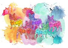 Watercolor bulldog collage Royalty Free Stock Images