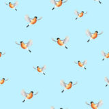 Watercolor bullfinch on a blue background. Christmas symbol. Handwork. Seamless pattern Royalty Free Stock Images