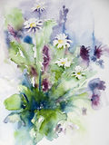 Watercolor of a bunch of wild flowers. Aquarel or watercolor of a beautiful bunch of wild flowers on paper Royalty Free Stock Images