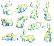Watercolor bunnies. Hand-drawn watercolor collection of Easter cute little bunnies isolated on the white background. Set of holiday Easter illustrations Vector Illustration
