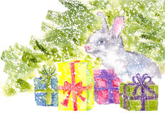 Watercolor bunny sitting under the Christmas tree with gifts snowing. Watercolor bunny sitting under the Christmas tree with Christmas gifts Royalty Free Stock Image