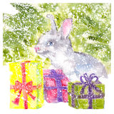 Watercolor bunny sitting under the Christmas tree with gifts snowing. Watercolor bunny sitting under the Christmas tree with Christmas gifts Stock Image