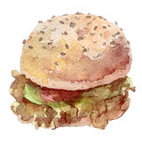 Watercolor burger hand drawn,. It can be used for card, poster. sticker, menu, recipe Royalty Free Stock Image