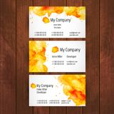 Watercolor business card template. On wooden background Royalty Free Stock Images