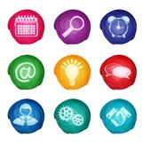 Watercolor business icons round Royalty Free Stock Images
