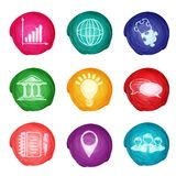 Watercolor business icons round Stock Photos