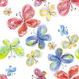 Watercolor butterflies Stock Photo