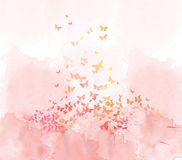 Watercolor butterflies background Stock Photo