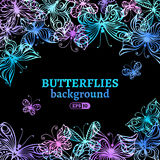 Watercolor butterflies background. Stock Image