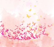 Watercolor butterflies background Stock Image