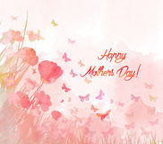 Watercolor butterflies background. Mothers day Stock Image