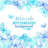 Watercolor butterflies background. Vector illustration. There is place for your text in the center Stock Images