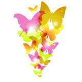 Watercolor butterflies design with flare. Vector illustration of Watercolor butterflies design with flare Royalty Free Stock Photography