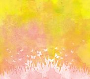 Watercolor butterflies and floral background Stock Images