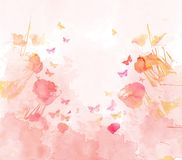 Watercolor butterflies and floral background Royalty Free Stock Photography
