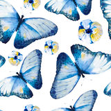 Watercolor butterflies, seamless floral vintage pattern Stock Image