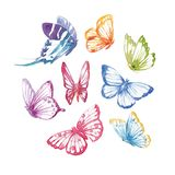 Watercolor butterflies set Royalty Free Stock Photo