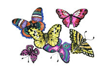 Watercolor butterflies set isolated on white background. Stock Images
