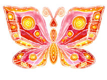 Watercolor the butterfly. Watercolor the red butterfly on a white background Stock Images