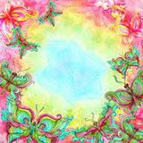 Watercolor butterfly background in bright colors royalty free illustration