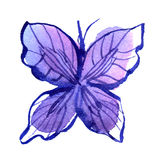 Watercolor butterfly in blue colors. Invitation, card stock photo