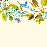 Watercolor butterfly and branch background Royalty Free Stock Photography