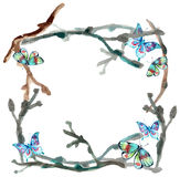 Watercolor butterfly and branch background Stock Image
