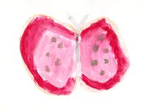 Watercolor Butterfly Children`s Artwork