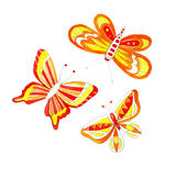 Watercolor butterfly drawing. Watercolor easter butterfly drawing spring bright cheerful ornament Royalty Free Stock Photo