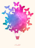 Watercolor_butterfly_hot_air_balloon 库存例证