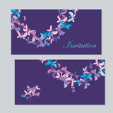 Watercolor butterfly invitation Stock Image
