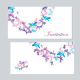 Watercolor butterfly invitation Royalty Free Stock Photos