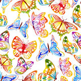 Watercolor_Butterfly_Pattern 免版税库存图片