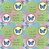 Watercolor butterfly seamless pattern on blue background. Geometric design with circle Stock Image