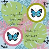 Watercolor butterfly seamless pattern on blue background. Geometric design with circle Royalty Free Stock Images