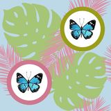 Watercolor butterfly seamless pattern on blue background. Geometric design with circle Stock Photography
