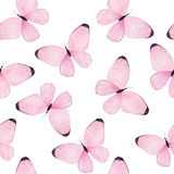 Watercolor butterfly seamless pattern Stock Images