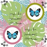 Watercolor butterfly seamless pattern on white background. Geometric design with circle Royalty Free Stock Image