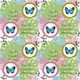 Watercolor butterfly seamless pattern on white background. Geometric design with circle Royalty Free Stock Photo