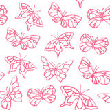 Watercolor butterfly summer pattern. On white background Stock Images