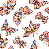 Watercolor butterfly summer spring. On white background Stock Image