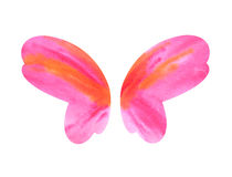 Watercolor butterfly wings. Watercolor pink and orange butterfly wings isolated on white stock images